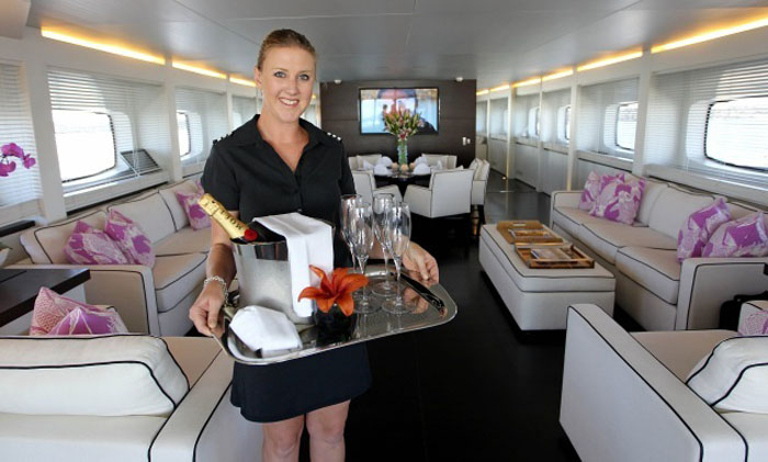 Dining room stewardess job for luxury mega charter yacht