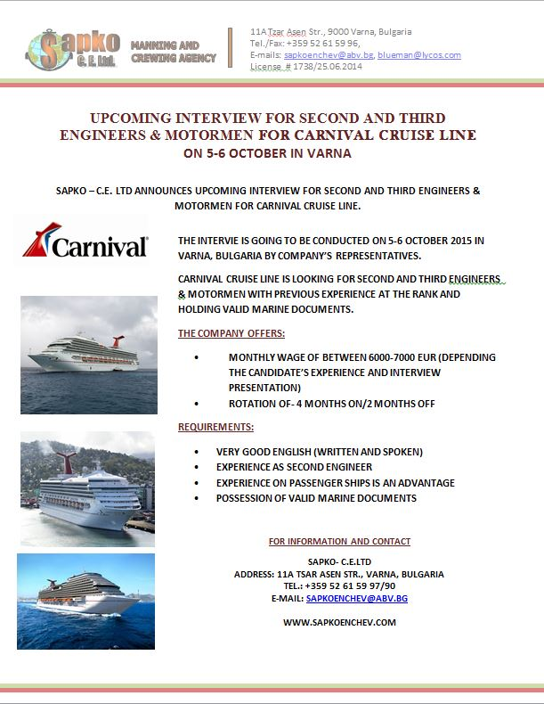 Interviews for Second Engineers - Carnival Cruise Lines in September 2015